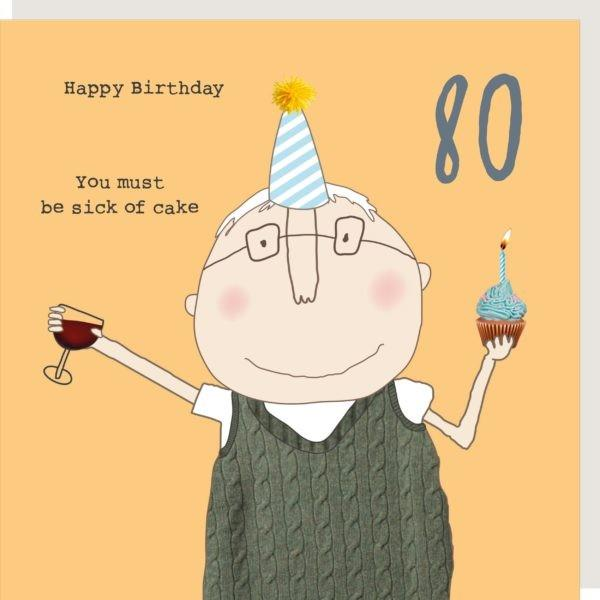 80th Birthday Cake - Greeting Card