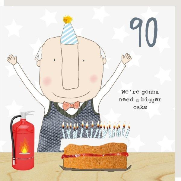 90th Birthday Cake - Greeting Card