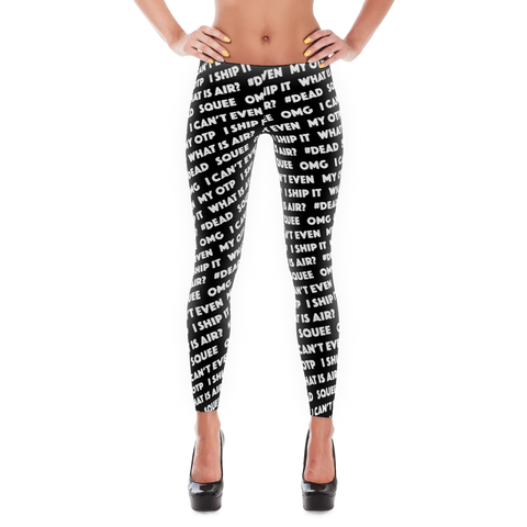 Fangirl Phrases Leggings (Black)