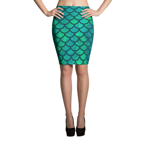 Watercolor Mermaid Pencil Skirt