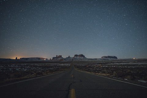 ROAD TO MONUMENT VALLEY AT NIGHT