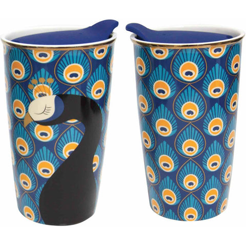 Peacock Ceramic Travel Mug W/ Lid