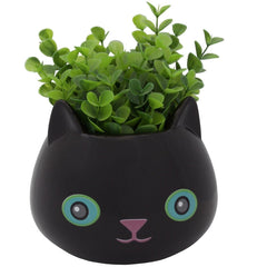Fine Feline Flower Pot - Black