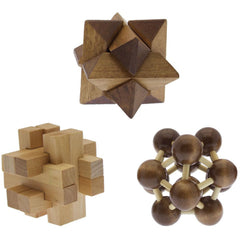 Three-in-One Wood Puzzle Set
