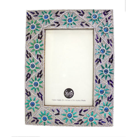 "Silver & Green Flower - 3.5x5.5"" Frame"