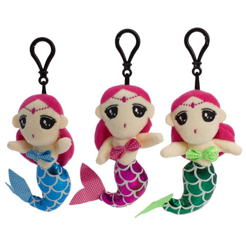 Plush Mermaid Sound Bag Tag Clip