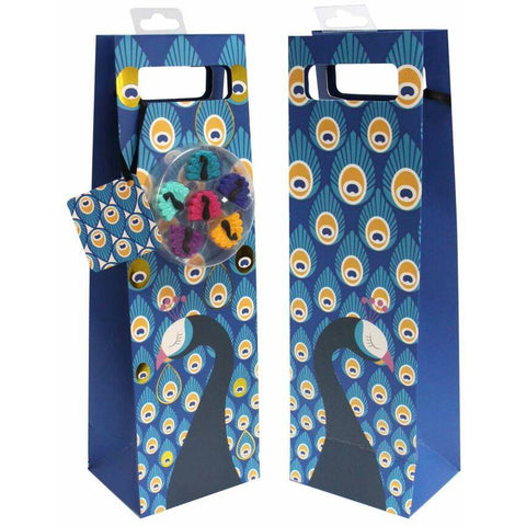 Bottle Gift Bags w/ 6 Glass Markers - Peacock
