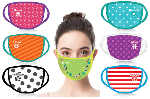 7 Days a Week Mask Set w/ Silver Ion Antibacterial Lining