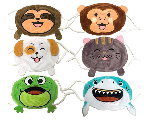 Plush Animal Kid Face Masks with Antibacterial Silver Ion Lining