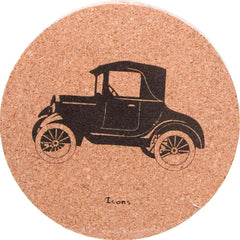 Icons Cork Coaster Set - Antique Car