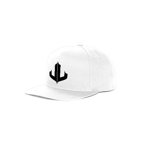 "White & Black Signature ""JL"" Snapback"