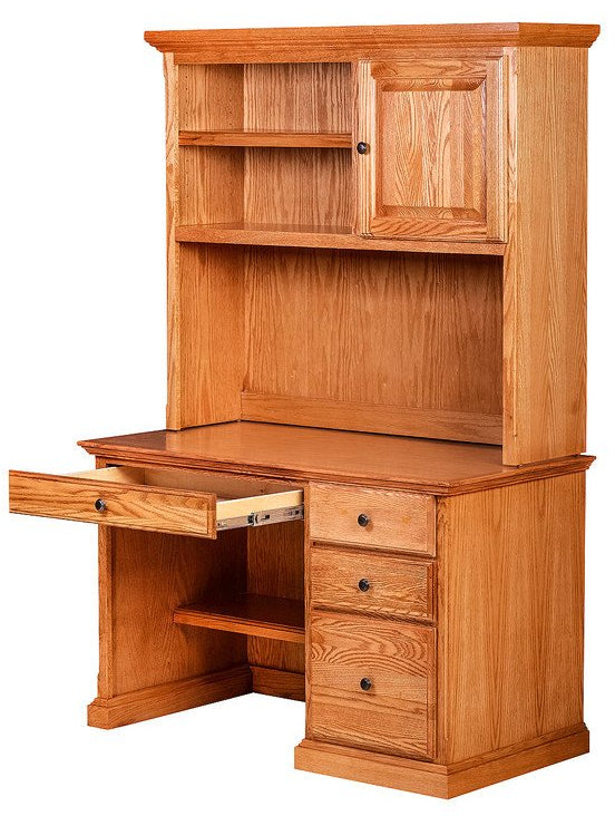 Forest Designs Traditional Desk w/ Pencil Drawer & Hutch: 48W X 72H X 24D (Black Knobs)