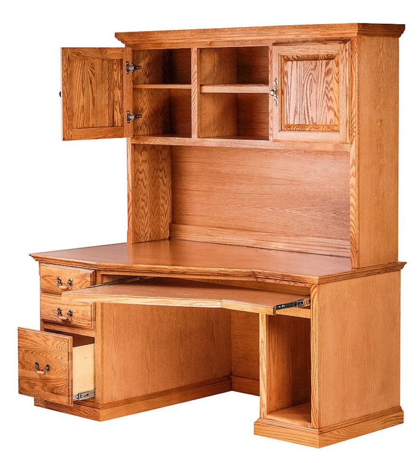 Forest Designs Traditional Angled Computer Desk + Hutch (60W x 71H x 35D)