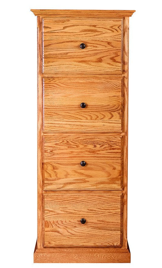 Forest Designs Traditional Four Drawer File: 22W X 56H X 21D (Black Knobs)