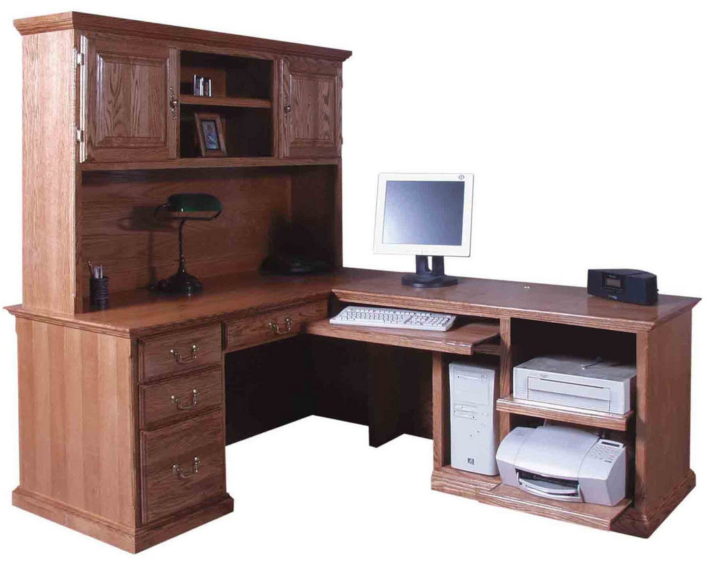 Forest Designs Traditional Desk & Return: 82 x 66 with Hutch