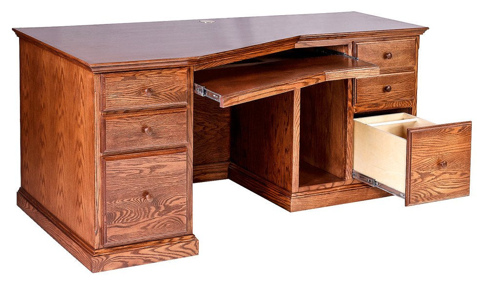 Forest Designs Traditional Oak Angled Computer Desk: 74W x 29H x 35D