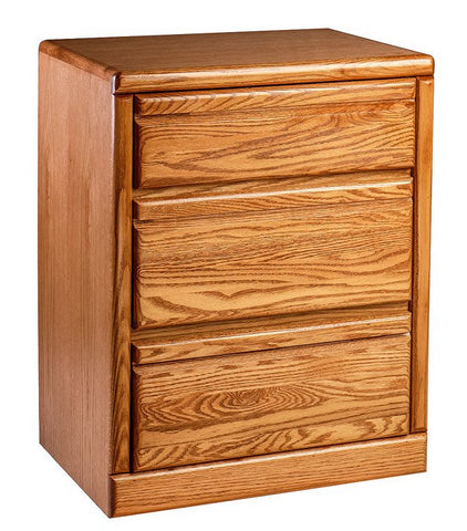 Forest Designs Bullnose Oak Three Drawer Nightstand: 25W x 30H x 18D