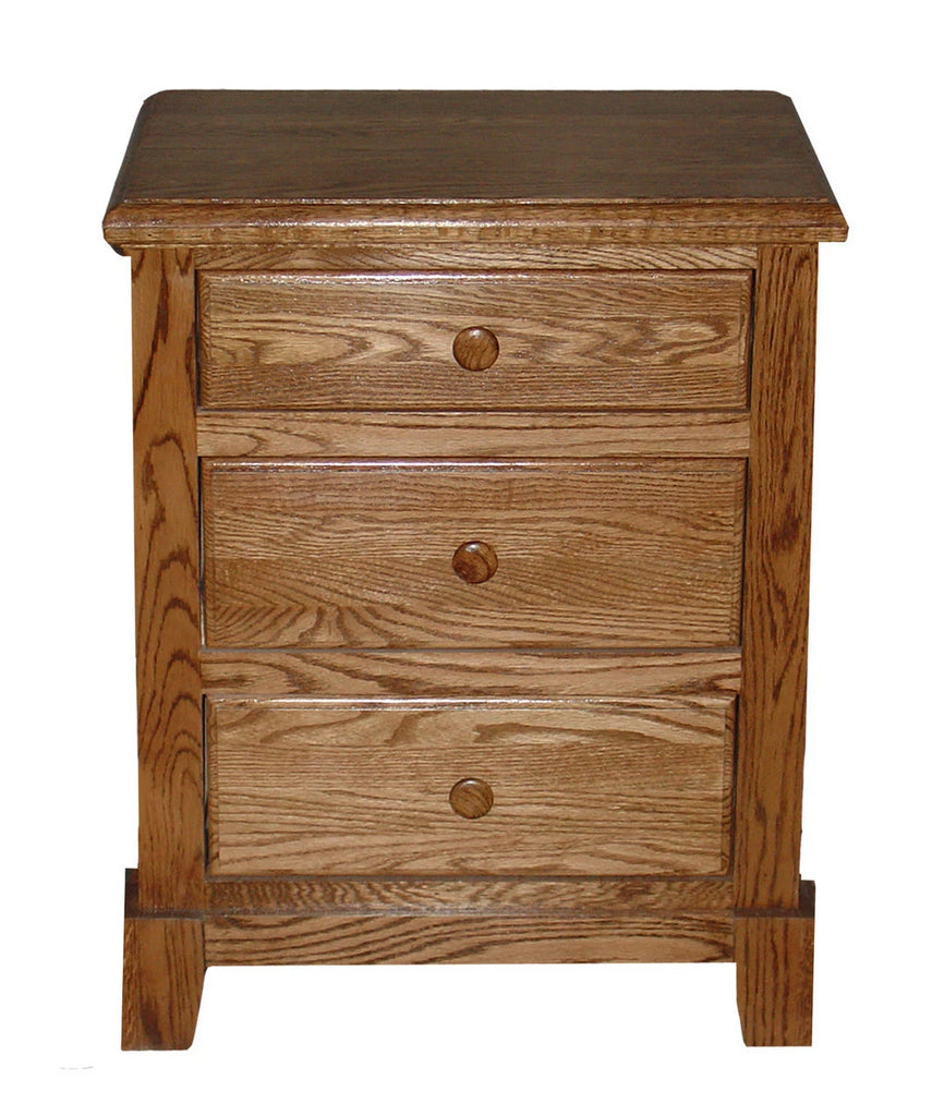 Forest Designs Shaker Oak 3 Drawer Nightstand (25W x 30H x 18D)