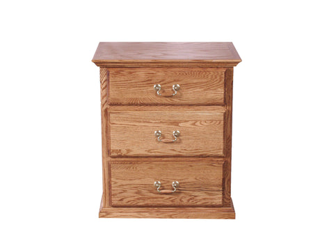Forest Designs Traditional Oak Three Drawer Nightstand (1): 25W x 30H x 18D