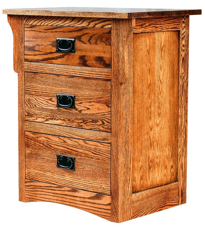 Forest Designs Arts & Crafts Three Drawer Nightstand: 25W X 30H X 18D