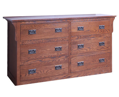 Forest Designs Arts & Crafts Six Drawer Dresser: 60W x 32H x 18D