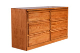 Forest Designs Bullnose Oak 6 Drawer Dresser (60W x 32H x 18D)