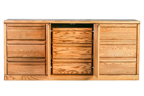 Forest Designs Bullnose Nine Drawer Dresser: 72W X 32H X 18D (Three Hidden Drawers)