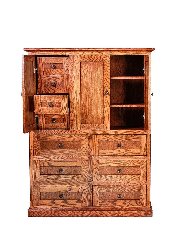 Forest Designs Mission Ten Drawer Armoire: 46W X 60H X 18D (Four Hidden Drawers)