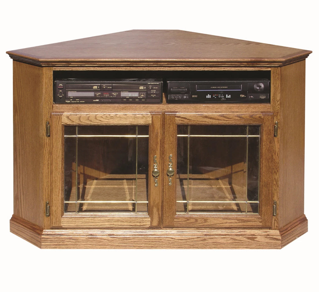 Forest Designs Traditional Corner TV Stand with Glass Doors: 51W x 32H x 32D