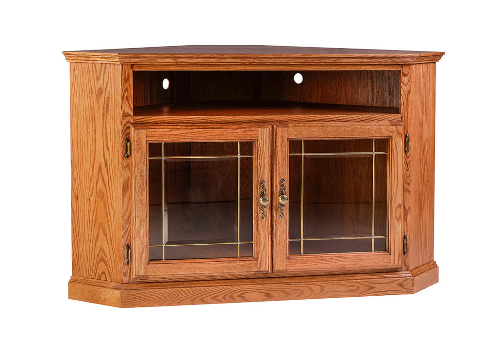 Forest Designs Traditional Oak Corner TV Cart with Glass Doors: 51W x 32H x 32D