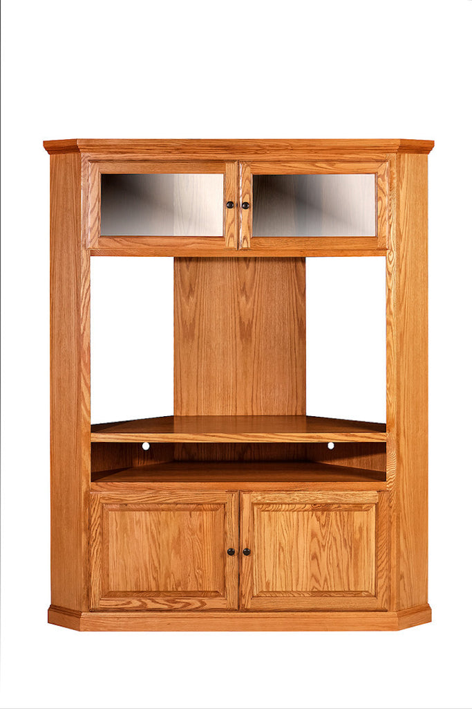 Forest Designs Traditional Large Corner TV Unit: 63W X 79H X 32D (Black Knobs)