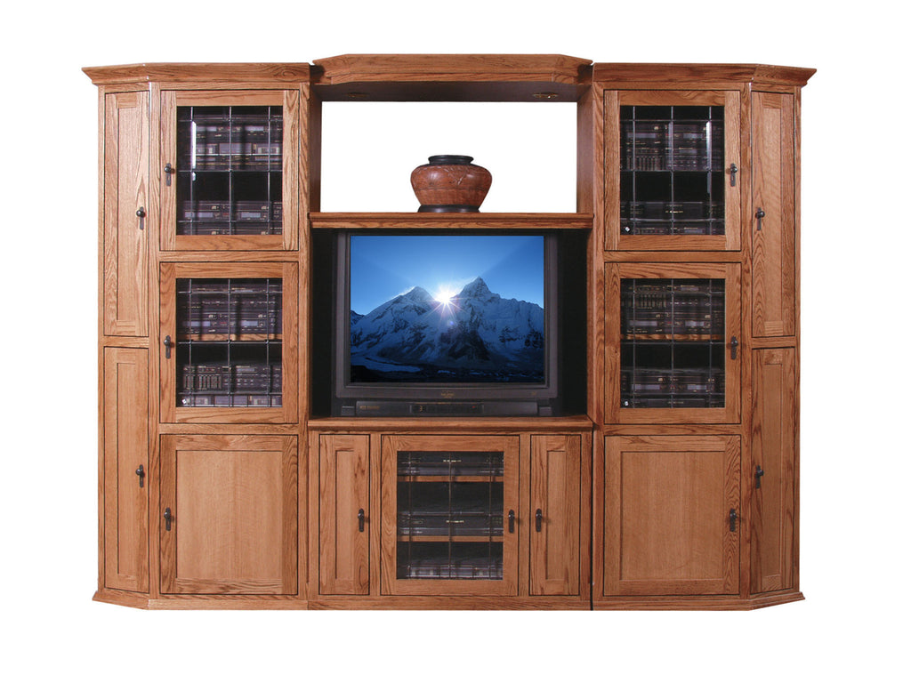 Forest Designs Mission Oak Three Piece Wall & TV Stand & Adjustable Shelf
