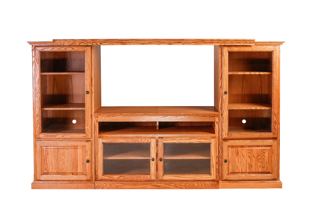 Forest Designs Traditional Oak Three piece Wall & TV Cart: 96w x 58h