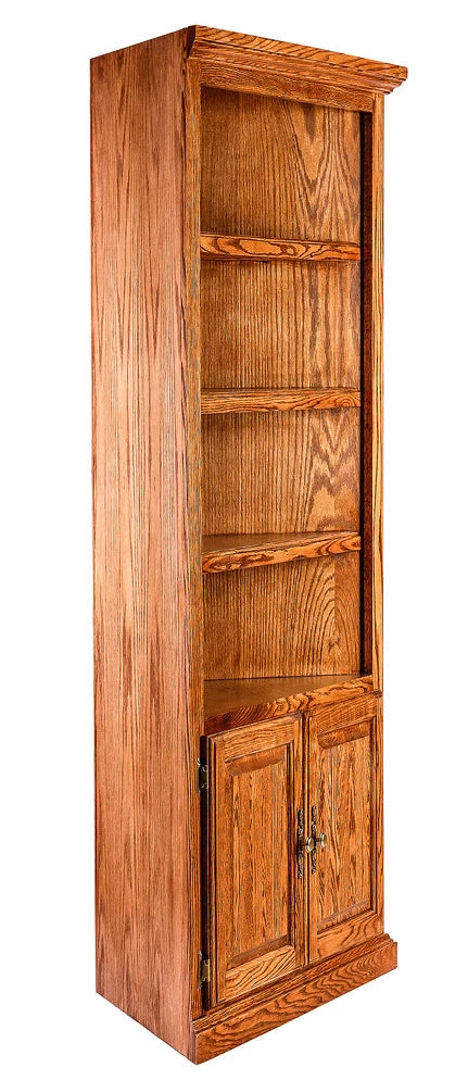 Forest Designs Traditional Oak Corner Bookcase: 27 x 27 Choose Your Height w/ 30H Lower Doors