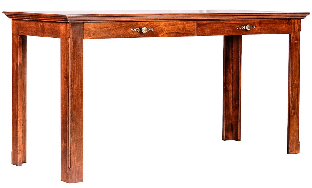 Forest Designs Traditional Alder Writing Table w/ Drawers: 60W X 30H X 24D