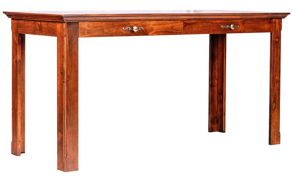 Forest Designs Traditional Alder Writing Table w/ Drawers: 60W X 30H X 24D (Wood Knobs)
