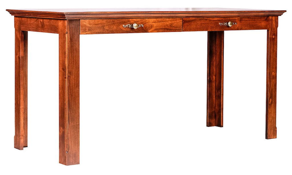 Forest Designs Traditional Alder Writing Table w/ Drawers: 60W X 30H X 24D (Silver Knobs)