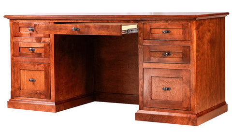 Forest Designs Mission Alder Writing Desk w/ Double Pedestal: 66W X 30H X 24D