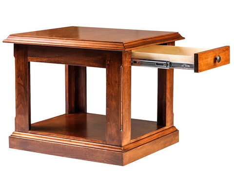 Forest Designs Traditional Alder End Table: 21W x 20H x 24D (Black Knobs)
