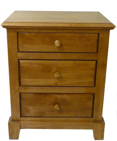 Forest Designs Shaker Three Drawer Nightstand: 25W x 30H x 18D