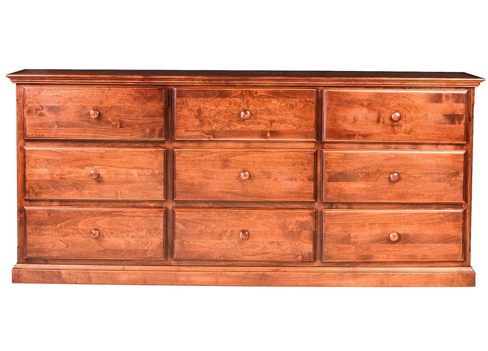 Forest Designs Traditional Nine Drawer Dresser: 72W X 32H X 18D