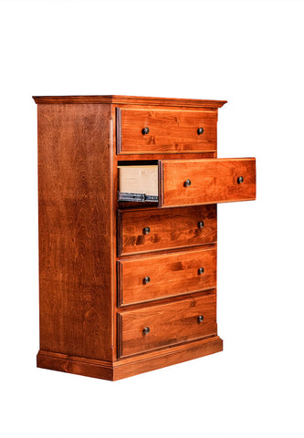 Forest Designs Traditional Five Drawer Dresser: 34W X 48H X 18D (Black Knobs)