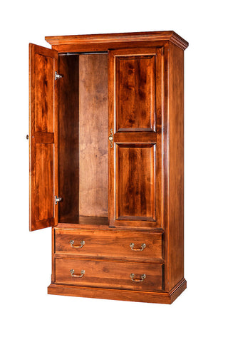 Forest Designs Traditional Antique Wardrobe: 36W X 72H X 21D W/ Two Drawers
