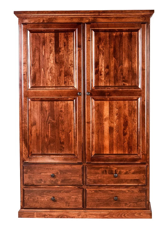 Forest Designs Traditional Wardrobe: 48W X 72H X 21D w/ Four Drawers & Center Divider (Black Knobs)