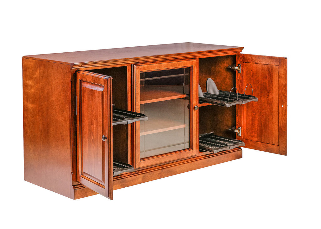 Forest Designs Traditional Alder TV Stand with Media Storage and V-Groove Glass: 56W x 30H x 21D