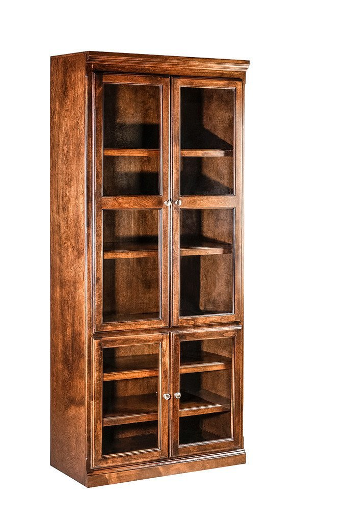Forest Designs Traditional Alder Bookcase w/ Full Glass Doors (36W X 18D x Height of Choice)