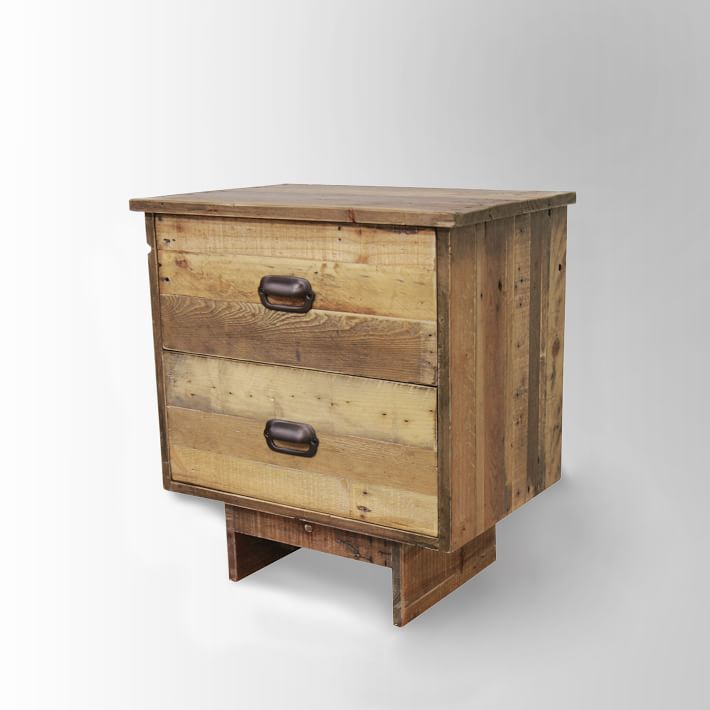 Reclaimed Wood 2-Drawer Nightstand