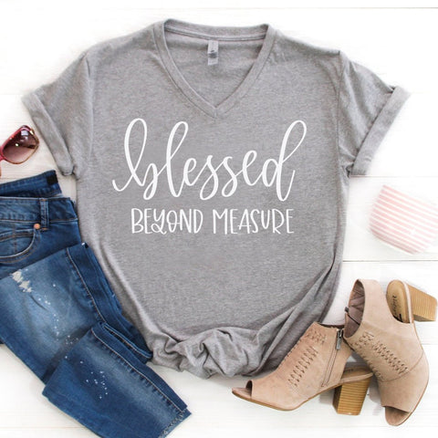 blessed beyond measure grey vneck www.karlastorey.com
