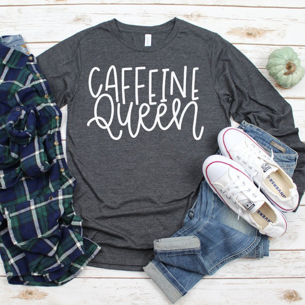 caffeine queen grey long sleeve tee www.karlastorey.com