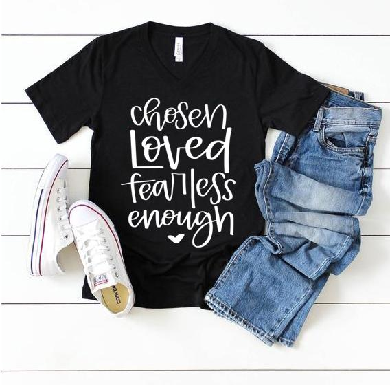 chosen loved fearless enough charcoal vneck tee www.karlastorey.com